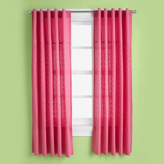 The Land of Nod | Kids Curtains: Kids Hot Pink Eyelet Curtain Panels in Curtains & Hardwares
