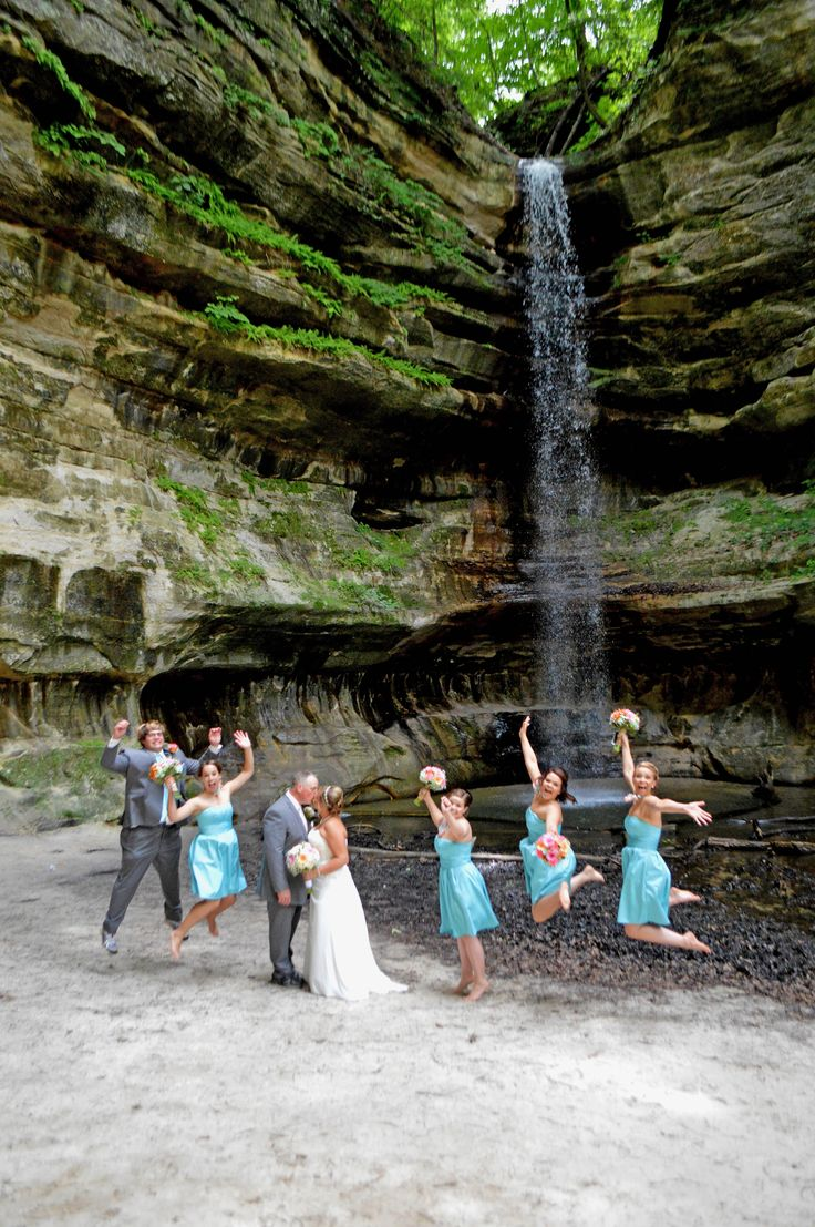 Jumping For Joy At A Starved Rock Wedding Photo Taken St Louis Canyon