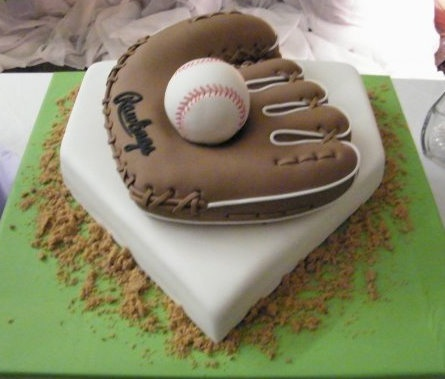 Lighted Personalized Baseball Softball Glove Cake Top Style # 108