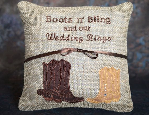 Boots n' Bling and Our Wedding Rings by SewDelightfulPillows