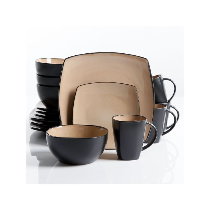 Gibson Everyday Soho Lounge 16-pc. Square Dinnerware Set, Brown