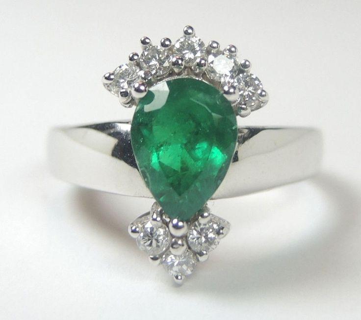 Colombian Emerald Diamond Engagement Ring 1.51 Ct TW 18K White Size 6.25 US Muzo #HandmadeByCiCeRi #Cocktail #Anniversary