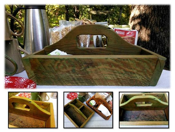 Rustic 1890s Reclaimed Wood Divided 3 Compartment Coffee Table Organizer Box Handled Caddy Tray ...
