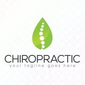 Logo Design of a green leaf with an abstract spine design made from dots  For Sale On StockLogos   Chiropractic logo