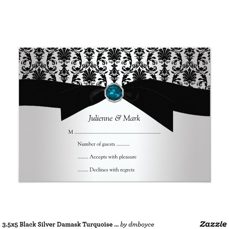 fast shipping wedding invitations%0A    x  Black Silver Damask Turquoise Jewel RSVP Card