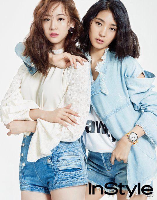 SISTAR's Bora and Dasom work the denim look for 'InStyle' | allkpop.com