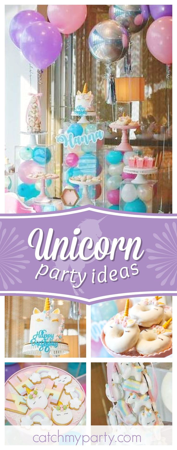 Don't miss this gorgeous unicorn birthday party! The unicorn donuts are too cute!! See more party ideas and share yours at CatchMyParty.com #unicorn #girlbirthday