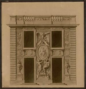 Print of a Pavillon at Marly-le-Roi, an estate belonging to Louis XIV, 1683 by Charles Lebrun