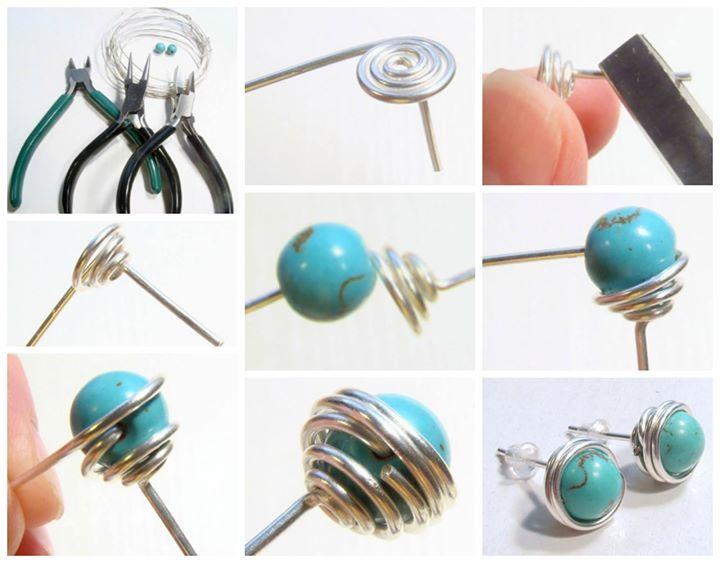 Free DIY: Wire Wrapped Bead Stud Earrings from KreatívVagyok.hu featured in recent Sova-Enterprises.com Newsletter!