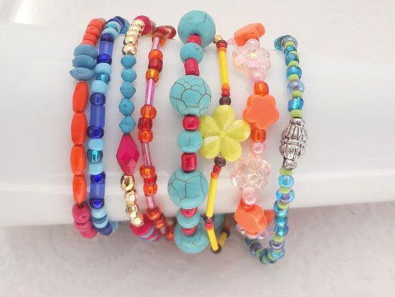 Boho Bracelet Set of 8 - Multi Colours - beaded stretch bracelets - handmade in New Zealand #4