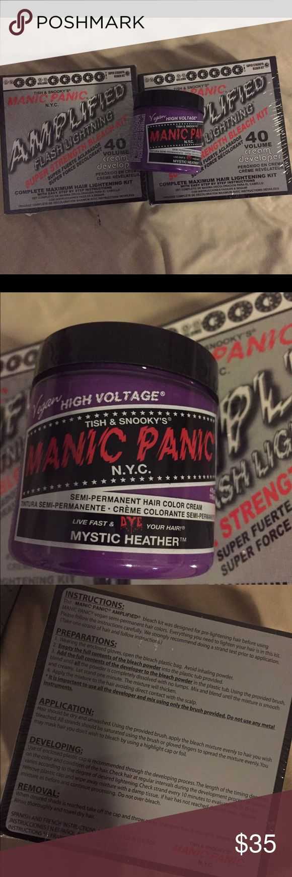 Manic Panic Mystic Heather & 2 Bleach Kit 40 Manic Panic Mystic Heather & 2 Bleach Kit 40 purple hair dye all are brand new and sealed. Mystic Heather is semi permanent Makeup