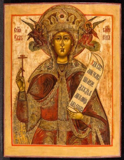Sainte Catherine icône russe, Moscou, XVIIIème siècle tempera à l'oeuf sur bois 95, 5 cm x 75,7 cm - ARTEMISIA auctions - 17/06/2015