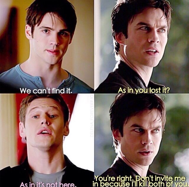 Jeremy and Matt should probably never invite Damon in....like ever. TVD 5x19