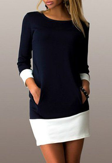 Casual Color Block Scoop Neck Long Sleeve   longer, no pockets. good color combo/design