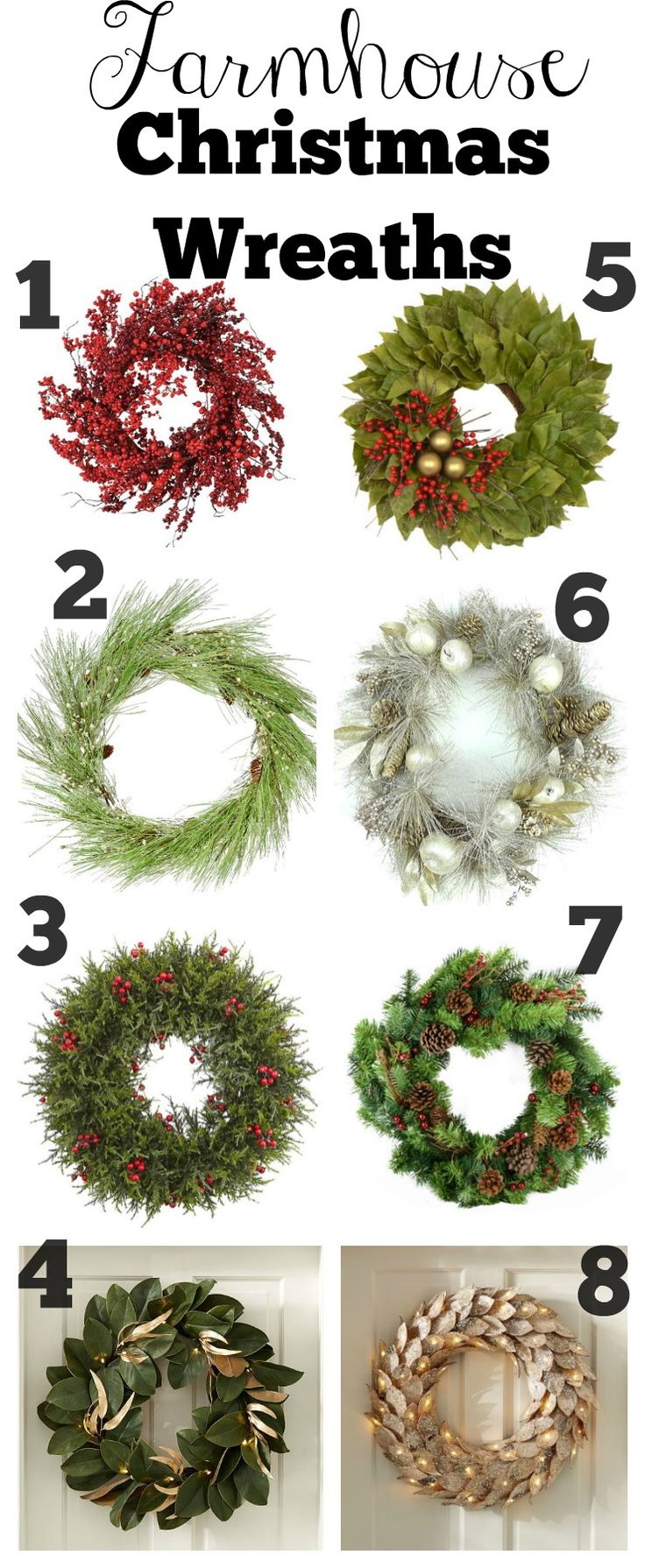 Farmhouse Style Christmas Wreaths