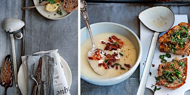 Schorsenerensoep. Start met Jannekes heerlijke schorsenerensoep en eindig met 1 van de andere recepten uit delicious.maart!