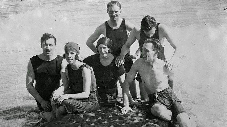 February 1922: A British society group at Palm Beach, Fla., with their inflatable plastic mattress.
