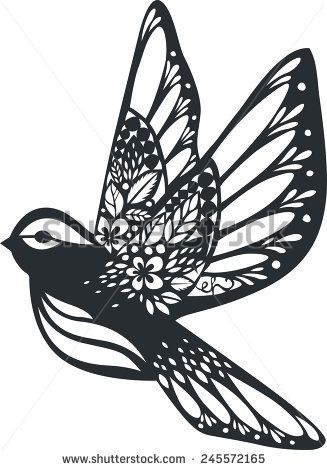 silhouette bird isolated on white for papercut