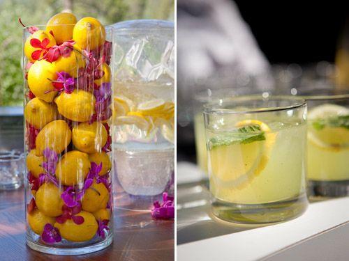 Lemon and purple floral decor - photos by Catherine Hall Studios   junebugweddings.com