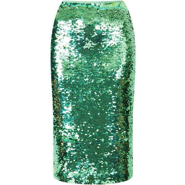 TOPSHOP Mint Sequin Pencil Skirt ($84) ❤ liked on Polyvore featuring skirts, mint, zipper skirt, knee length pencil skirt, mint green pencil skirt, mint pencil skirt and mint green skirt