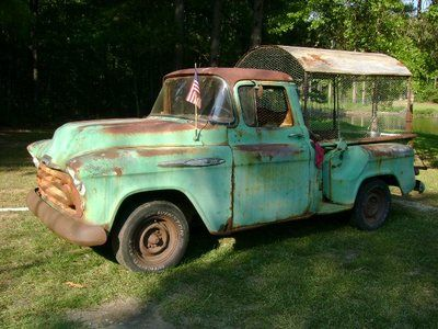 """I never could have imagined this. """"Chicken coop / chicken tractor. Portable, moveable. 1957 Chevy pickup truck""""  SO FUNNY!!!!"""
