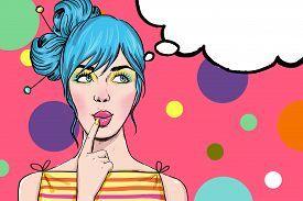stock photo of vintage  - Pop Art illustration of girl with the speech bubble - JPG