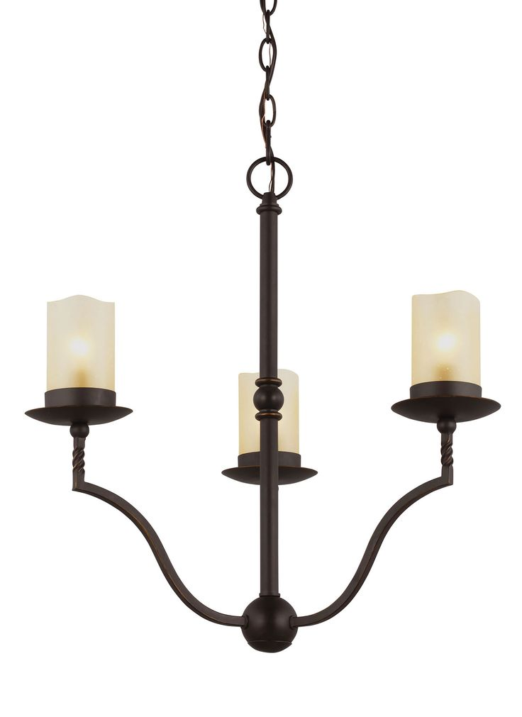 Trempealeau 3 Light Chandelier features a beautiful, forged metal  inchtwist inch detail in Roman Bronze, which when coupled with the warm hues of the Champagne Seeded glass delivers a pastoral design which will transport you abroad to French wine country. Three 60 watt, 120 volt B10 type Candelabra base incandescent bulbs are required, but not included. Comes with 12 feet of wire and 10 feet of chain. Rated for damp locations. 21.25 inch width x 21.125 inch height x 143 inch maximum length.