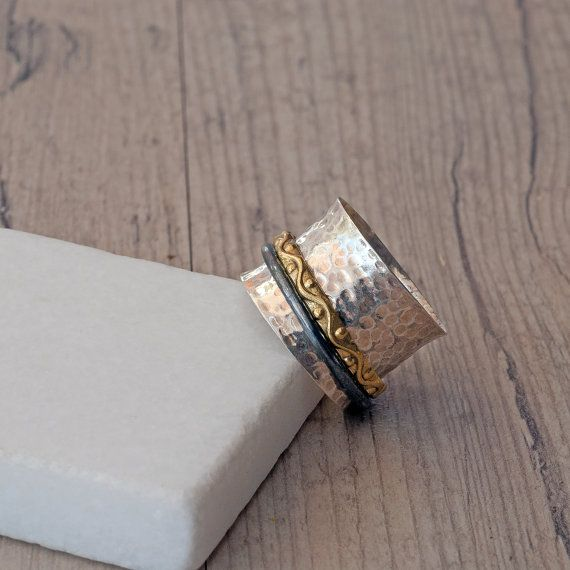 Sterling Silver Spinner Ring Hammered Wide Band by SunSanJewelry