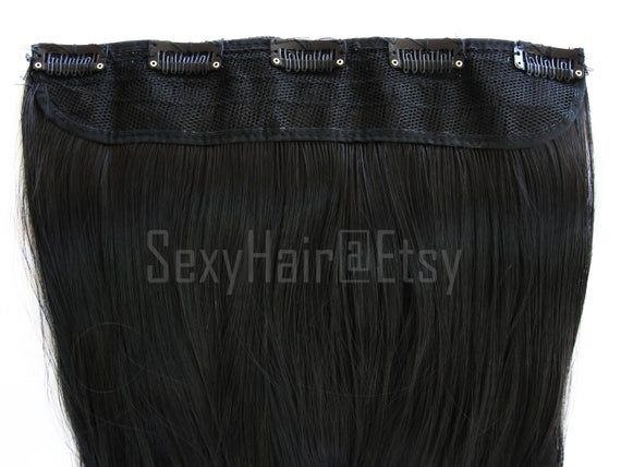 26″Black One Piece Hair Extension, Clip in Extension, Black Hair, Long Black Hair Extension, Clip on