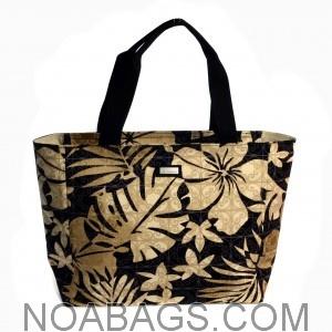 Jim Thompson Luxury Canvas Summer Bag Black Floral Beige