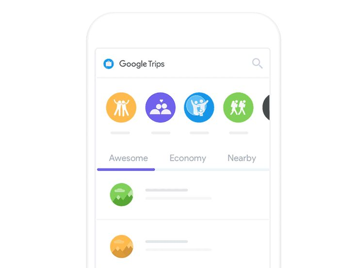 An image of the app concept Google Trips, top mobile interaction design of December 2016