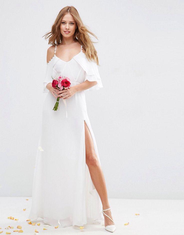 Compra Vestido largo con botones y hombros descubiertos de ASOS BRIDAL en  ASOS. Descubre la moda online.