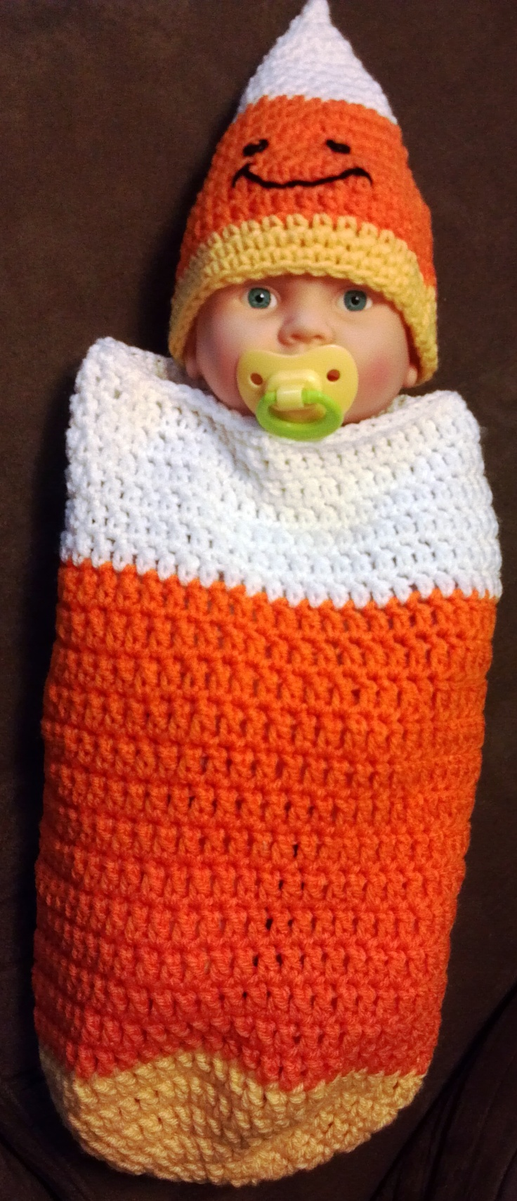 Cottage snuggle sack and hat crochet baby baby cocoon and sacks - Candy Corn Cocoon And Hat