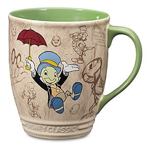 Disney Jiminy Cricket Mug - Pinocchio | Disney StoreJiminy Cricket Mug - Pinocchio - Like a bolt out of the blue, you'll find a dose of daily aspiration from this lively Jiminy Cricket mug illustrated by authentic animation art from Walt Disney's classic film <i>Pinocchio</i>.