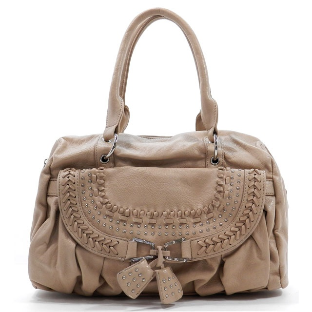 35.00 Fashion Handbag Beige Color . Faux Lether .Zip Top Closure