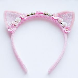 Floral Kitten Headband by Dolly Darling- needle felted wool ears, hand- wrapped pink velvet headband, paper flowers.