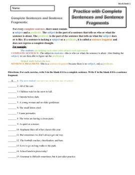 Grammar Lesson: Complete Sentences and Sentence Fragments Writing Worksheets Homework In Class Practice $1.50