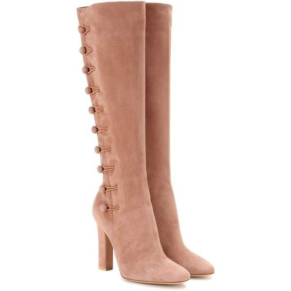 Gianvito Rossi Savoie Suede Knee-High Boots ($1,545) ❤ liked on Polyvore featuring shoes, boots, pink, pink boots, suede leather boots, gianvito rossi, knee high boots and pink suede boots