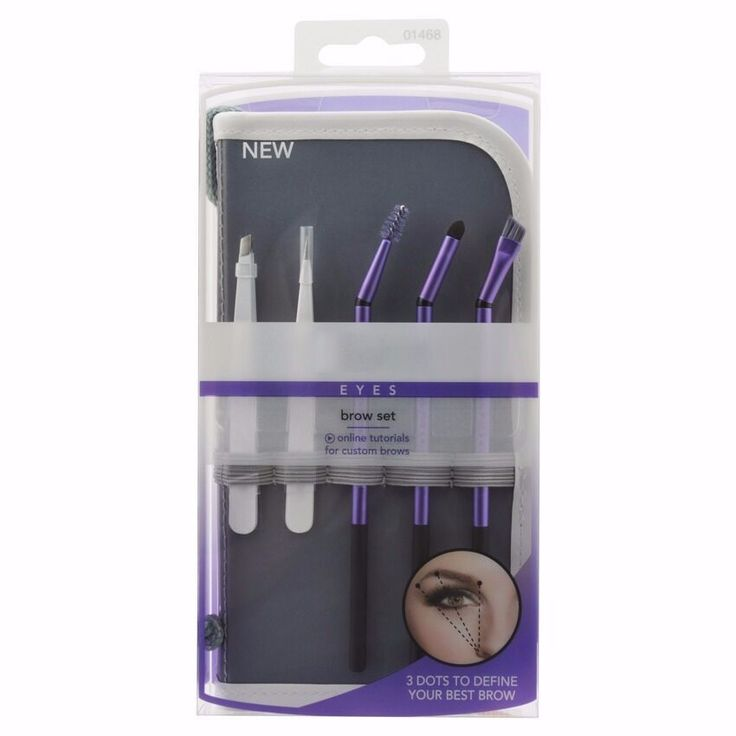 5 pcs Purple Eyebrow Brushes with Stainless Steel Tweezers