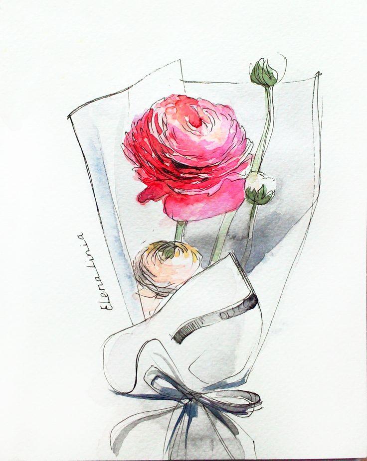 Illustration by Elena_linia. #illustration #flower #drawing #art #watercolor #sketch #rununkulus #inspiration