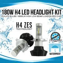 180W H4 LED Headlight Kit Philips Bulbs 18000LM Fanless High Low Beam Luxeon ZES Chip