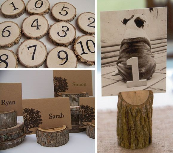 Love this idea for table numbers and name card holders! I wonder how they do the numbers? @Ashley Cajigas