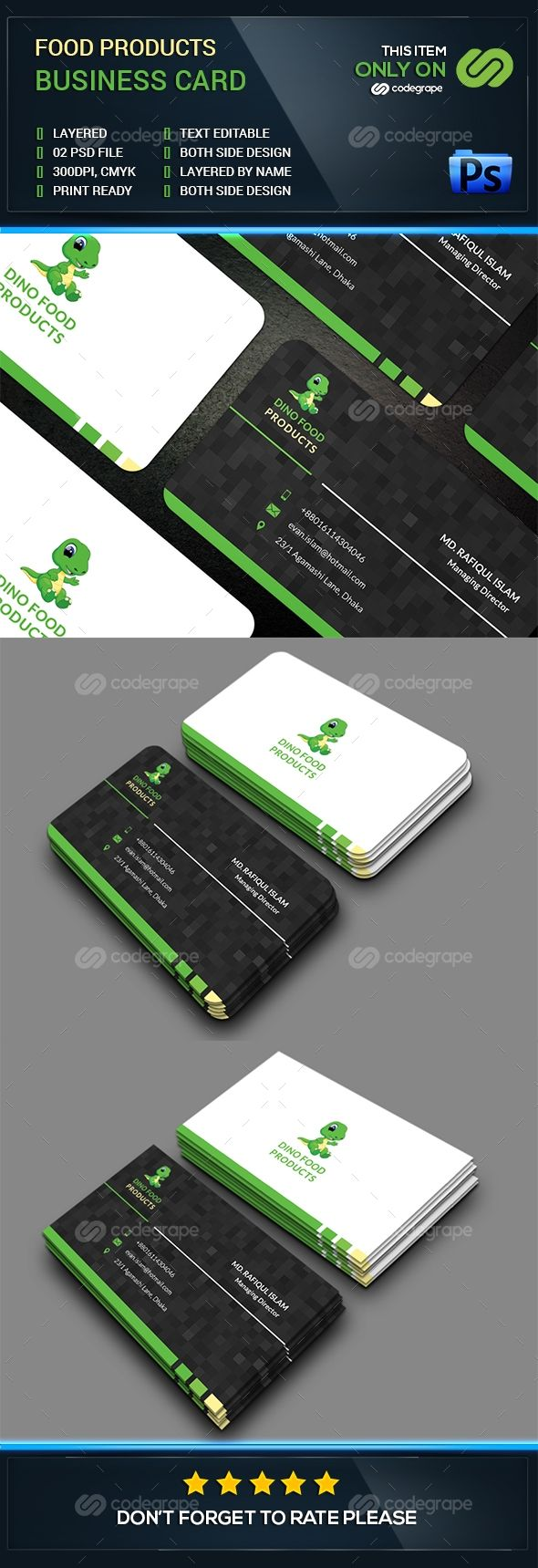 food products business card