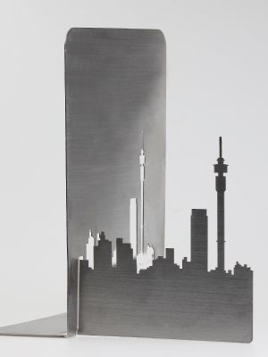 Stainless steel bookends of the Joburg skyline by Fanie van Zyl.
