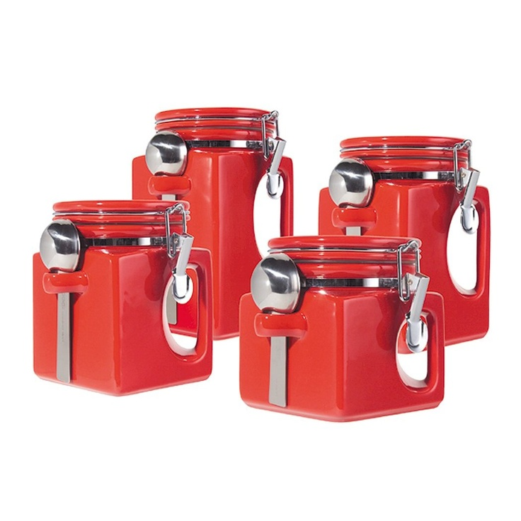 oggi ez grip handle ceramic airtight canister set these ceramic canisters have rubber seals that make for airtight storage of sugar flour etc  84 best kitchen canisters images on pinterest   kitchen canisters      rh   pinterest com