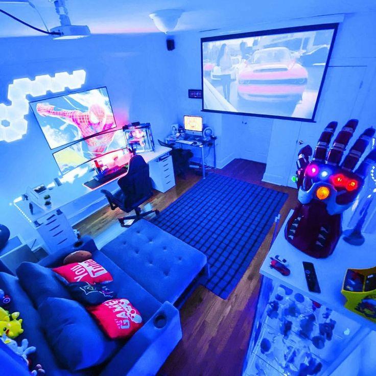 Best Gaming Setup, Gamer Setup, Gaming Room Setup, Pc Setup, Cool Gaming Setups, Small Game Rooms, Computer Gaming Room, Bedroom Setup, Video Game Rooms