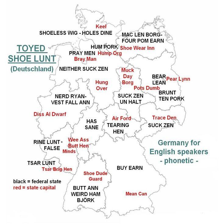 Die besten 25 deutschland karte bundesl nder ideen auf pinterest landkarte deutschland - Lustig auf englisch ...