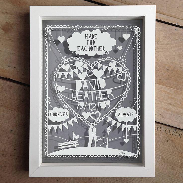 Personalised Love/Anniversary Papercut