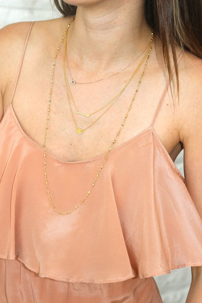 @Nicole Novembrino Novembrino Novembrino, Frankie Hearts Fashion shows off her delicately layered Maya Brenner for Stella & Dot Ever After heart and On the Mark arrow necklaces