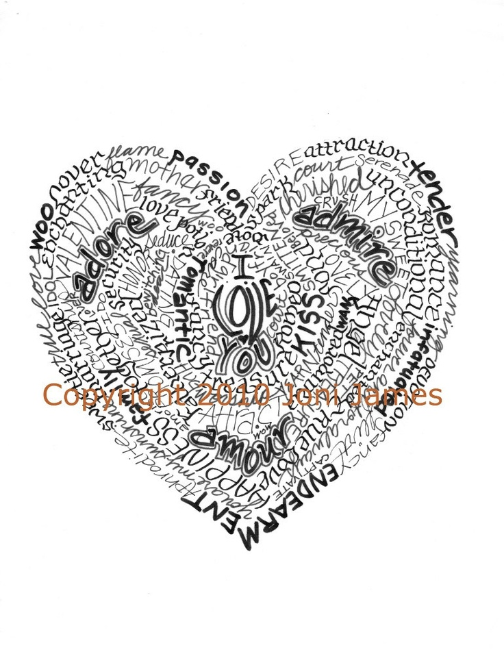 Valentine Heart Word Art Calligraphy Drawing Love Heart